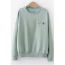 Retro Pea Green Basic Long Sleeve Crewneck Floral Letter Embroidered Chest Pullover Sweatshirt