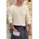 Men's Basic Simple Plain Long Sleeve Single Pocket Chest Loose Casual Knitted T-Shirt