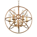 Industrial LED Orb Chandelier in Antique Copper Finish, 16'' Wide 6 Light