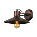 Industrial Wall Sconce with Coolie Shade in Rust