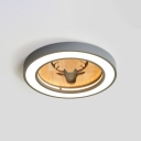 Wooden Elk Design Flushmount with Round Shade Nordic Style Boys Girls Bedroom LED Lighting Fixture