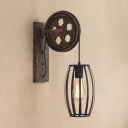 Wheel Shape Wall Lamp with Metal Cage Vintage 1 Head Sconce Lighting in Black for Coffee Shop
