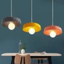 Modern Drum Hanging Lamp Dining Room Bedroom Metallic 1 Bulb Lighting Fixture in Gray/Pink/Yellow