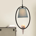Metallic Halo Ring Hanging Lamp with Bird Decoration American Retro 1 Bulb Pendant Light in Black