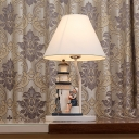 Conical Standing Table Lamp with Lighthouse Decoration for Bedroom Fabric Single Light Table Light in White