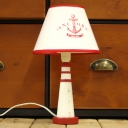 Cone Shade Table Light with Resin Lighthouse Base Mediterranean Girls Room 1 Light Reading Light in White