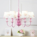 Flower Pattern Chandelier Light with Coolie Fabric Shade Rustic Style 5 Heads Hanging Light in Pink