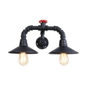 Retro Curved Arm Lighting Fixture with Flared Shade Iron 2 Heads Wall Mount Light in Black