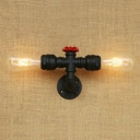 Industrial Linear Wall Lamp Metal 2 Lights Wall Mount Light in Black Finish for Corridor