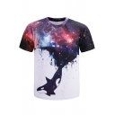 New Trendy 3D Purple Galaxy Printed Basic Crewneck Short Sleeve T-Shirt