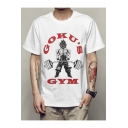 Cool Letter Comic Character Print White Short Sleeve Loose T-Shirt