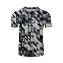 Stylish Short Sleeve 3D Colorblock Geometric Print Green T-Shirt