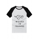 Popular Harry Potter Eyeglass Letter WIZARD IN TRAINING Print Raglan Sleeve White Cotton T-Shirt