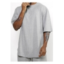 Men's Street Fashion Basic Simple Plain Half-Sleeved Round Hem Oversized T-Shirt