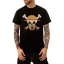 Unique Skull Printed Men's Street Fashion Black Casual T-Shirt