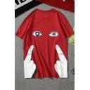 Summer Funny Cartoon Gesture Eyes Pattern Men's Casual Loose Short Sleeve T-Shirt
