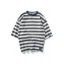 Summer Fashion Striped Printed Three-Quarter Sleeve Cotton Oversized T-Shirt