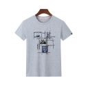 Summer Comfort Cotton Basic Round Neck Short Sleeve Graphic Tee for Boys