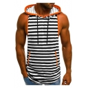 Summer Fashion Striped Printed Sleeveless Drawstring Hooded Breathable Sport Tank Top