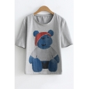 Cute Teddy Bear Printed Short Sleeve Casual T-Shirt for Juniors