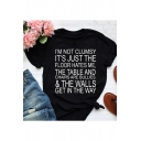 Street Style Fashion Letter I'M NOT CLUMSY Print Relaxed Short Sleeve T-Shirt