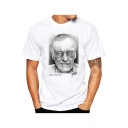 Popular Figure American Comic Book Writer Portrait Printed Short Sleeve White T-Shirt