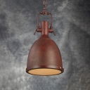 Mottled Rust Iron/Distressed Bronze Finish Vintage Pendant Light with Platen Glass Diffuser/Mesh Diffuser 12