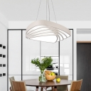 Metal Triangular Pendants Simple Style White Finish LED Hanging Light Fixture 18