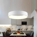 Modern Nordic Hoops LED Pendant Light Metal Acrylic Single Pendant Lamp in Black/Gray/White