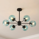 6 Light Ball Shade Pendant Light Post Modern Faded Glass Hanging Light in Blue