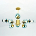 Branch Suspended Light Contemporary Blue Faded Glass 8 Light Chandelier for Living Room