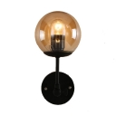 Globe Shade Wall Sconce Industrial Vintage Transparent Glass Wall Light in Black