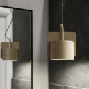 Concreted Cylinder Shade Ceiling Lamp Industrial Modern Cord Suspension Light in Beige