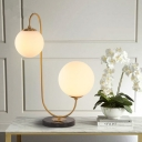 Designers Style Double Ball Table Lamp Opal Glass 2 Light Desk Light for Living Room