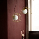 Bird Cage LED Hanging Pendant Lights Post Modern Metal 1 Light Suspension Lamp in Gold Finish