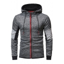 New Stylish Contrast Full Zip Colorblock Patchwork Slim Fitted Heather Grey Drawstring Hoodie