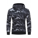 Unique Zip Embellished Long Sleeve Fashion Camouflage Printed Slim Fit Drawstring Hoodie