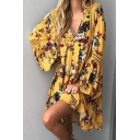 Floral Tribal Printed Long Sleeve V Neck Mini Swing Dress