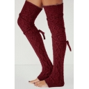 Burgundy Knit Cable Knee Length Stockings
