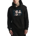 Men's Unique Peony Floral Printed Long Sleeve Casual Loose Pullover Hoodie