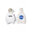 Popular Stylish NASA Logo Letter UNITED STATES American Flag Print Long Sleeve Relaxed Hoodie