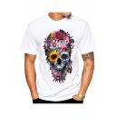Cool Hip Hop Flower Skull Printed Short Sleeve Round Neck White Slim Tee