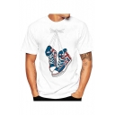 Crewneck Short Sleeve Shoes Printed Short Sleeve Fitted Tee for Men