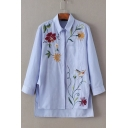 Blue Lapel Collar Long Sleeve Floral Bird Embroidered Striped High Low Asymmetric Shirt