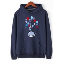 Lovely Cartoon Dolphin Balloon Printed Long Sleeve Regular Fitted Hoodie for Guys
