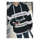 Men's Casual Loose Oversized Long Sleeve Fashion Letter Printed Colorblock Hoodie