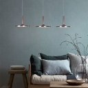 Brown Finish Disk LED Hanging Lamp Minimalist Style Multi-Light Pendant Fixture for Dining Room