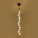 Multi Light Long Pendant Lamp Modern Frosted Glass Globe Branching LED Hanging Light