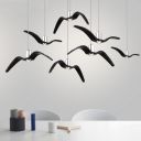 Resin Seagull LED Hanging Lamp Modern Design 6 Light Cluster Pendant Light in Black