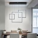 Modern Chic Square Suspension Light Metal 3 Light LED Pendant Lamp for Sitting Room